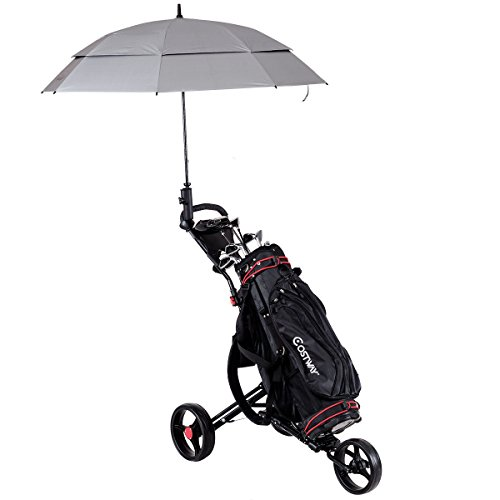 Review Tangkula Foldable Golf Cart 3 Wheels Golf Club Push Pull Cart Trolley