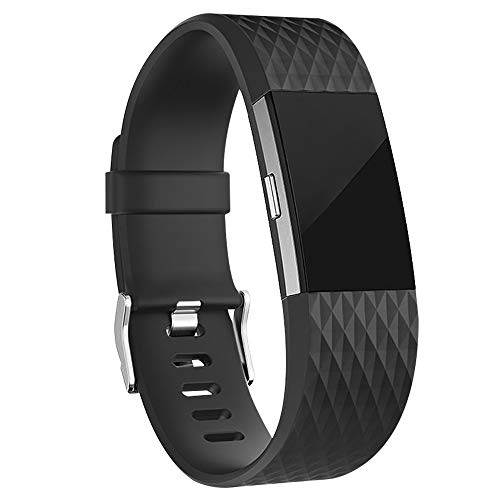 iGK Replacement Bands Compatible for Fitbit Charge 2, Adjustable Replacement Bands with Metal Clasp Special Edition Black Small