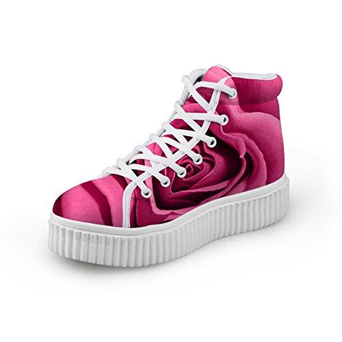 Bigcardesigns Femmes Classique Multicolore Design Floral Décontracté Extérieur Plat Chaussures Sneakers Rose