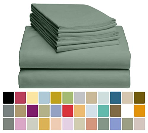 "6 PC LuxClub Sheet Set Bamboo Sheets Deep Pockets 18"" Eco Friendly Wrinkle Free Sheets Hypoallergenic Anti-Bacteria Machine Washable Hotel Bedding Silky Soft - Tree Moss Green Queen"