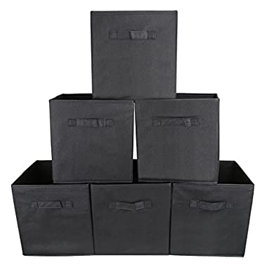 Set of 6 Foldable Fabric Basket Bin- EZOWare Collapsible Storage Cube For Nursery Home and Office - Black