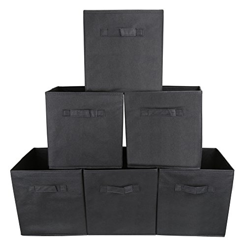 EZOWare Set of 6 Foldable Fabric Basket Bin Collapsible Storage Cube for Nursery Shelves Closet (Black)