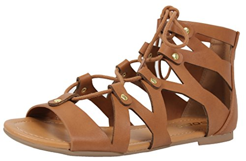 Soda Women's Open Toe Lace Up Strappy Ankle Flat Sandals (Tan, 7.5 B(M) US)