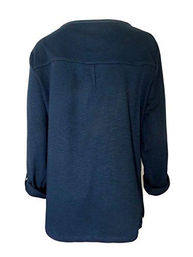 Strawberry Hill Cottage - Camiseta de manga larga - Túnica - Básico - Cutaway - para mujer azul marino