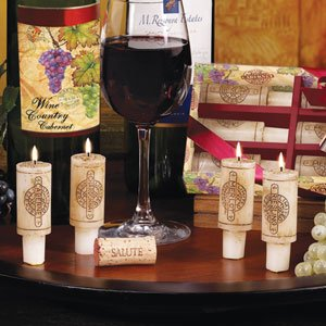 DecoGlow Wine Country Collection 6-Piece Set 3-Inches Wine Cork Candles with Merlot Scent (Candles Wine Scented)