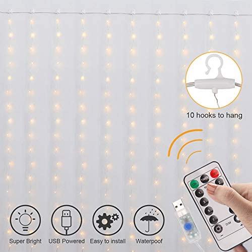 Curtain Lights, 8 Modes Fairy Lights String with Remote Controller, IP64 Waterproof, USB Plug in Twinkle Lights for Weddings, Parties, Backdrop, Wall Decorations, 300 Led 9.8×9.8Ft, Warm White
