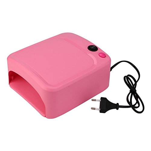 Wondere 36W UV Lamp Light Nail Dryer Professional Portable Fast Curing Nail Art Machine With Timer (Pink) (Uv Nail Lamp 220v)
