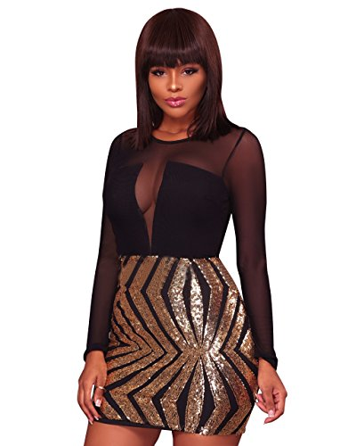 Women Sexy Long Sleeve Mesh Sequin Bodycon Party Dresses Clubwear Gold 2XL