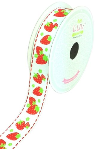 LUV RIBBONS Fabric Ribbon by Creative Ideas, 7/8-Inch, Grosgrain Strawberry Fruits, White