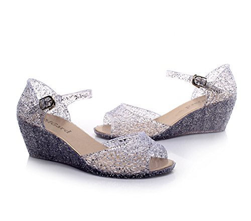 Wedge Omgard Heels Summer Jelly Color Womens Sandals Glitter Peep With Platform Shoes White Hook 3 Toe xqYqwE5r