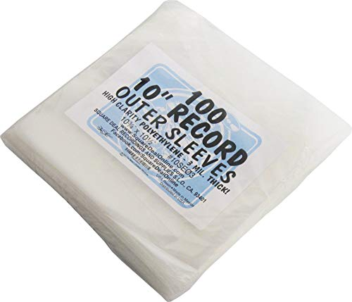 Square Deal Recordings & Supplies 100 Plastic Outer Sleeves for 10
