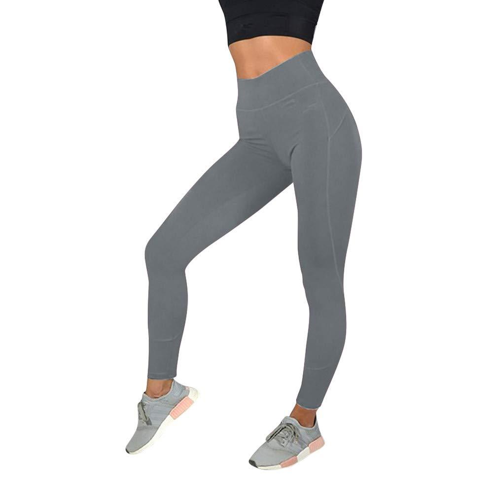 Womens Pants,Yoga Pants for Women Tummy Control Workout Pants Fitness Pants Solid Yoga Leggings Grey
