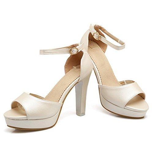 Coolcept Plataforma Beige Al Peep Tacon Mujer Toe Sandalias Ancho Tobillo Zapatos Moda qRFHSwqg