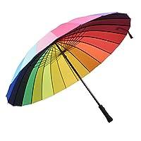 24K Rib Color Rainbow Fashion Long Handle Straight Anti Uv Sun/Rain Stick Umbrella Manual Big Parasol