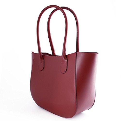 Sac Shopper En Cuir Véritable Pour Femme Rouge - Maroquinerie Fait En Italie - Sac Femme