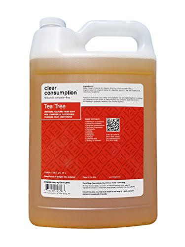 1 Gallon Tea Tree Clear Consumption Natural Foaming Hand Soap Refill - For Commercial & Personal Foaming Soap Dispensers