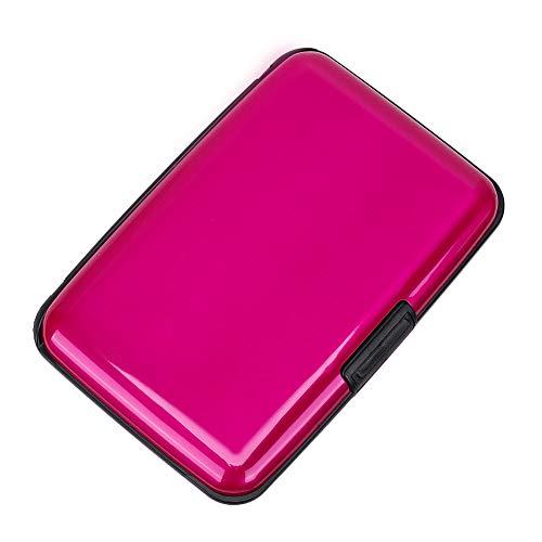 Elfish RFID Blocking Credit Card Protector Aluminum ID Case Hard Shell Business Card Holders Metal Wallet for Men or Women (Pink) ()