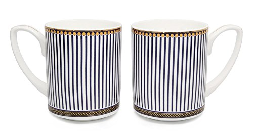 (Royalty Porcelain 2pc Bone China 12-Ounce Tea or Coffee Drinking Mug Set w/ Blue Ribbons Old-Fashioned Cup Ornament and Gold Rim)
