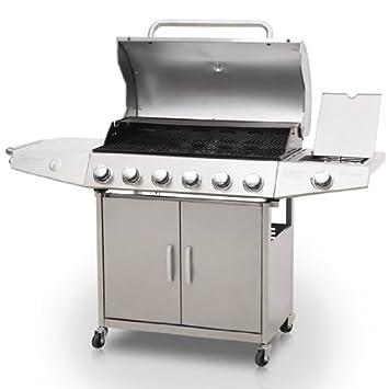 Broil-master-Barbacoa de gas, color plateado-6 1 quemadores de acero