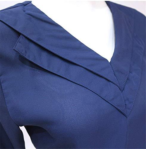 Couleur Shirt V Blouse Mode Casual Manches Longues Chic YOGLY Soie Sexy Femme de en Bleu Tops Mousseline Unie Col Chemisier q1OFP