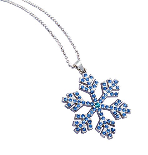 Plated Crystal Snowflake Pendant Necklace (Blue) ()