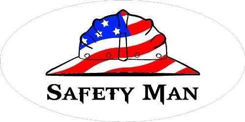 3 - Safety Man Hard Hat / Helmet Stickers 1 1/2'' x 3'' H266