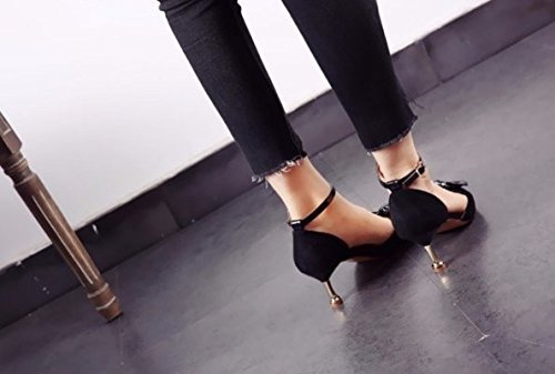 Heels Bow 37 Shoe Elegant Lady Spring Pointed Word Fine Leisure 6Cm MDRW Black Single Head Work One Hollow Heel Suede Buckle qawfWP