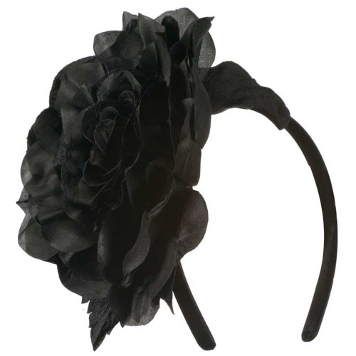 6 Inch Flower Satin Covered Headband - Black OSFM