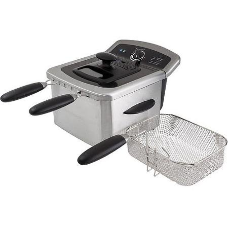 4l Dual Deep Fryer, Stainless Steel Includes Two Small Fryer Baskets and One Large Fryer Basket (Fryer Deep Stainless Steel Farberware)