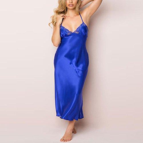sous Couette Satin Nightwear Robe Lingerie Longue Dentelle Robe Femme Bleu Seduction Guesspower Bleu Sexy Erotique Dentelle Unique Vtements Kits de Z6wqv
