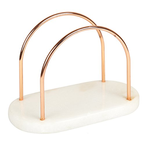 "Creative Home 50241 Natural Marble and Wire Napkin Holder with with Copper Finish, 7-1/2"" x 4"" x 5-1/8"" H, Off- Off-White (patterns may very)"