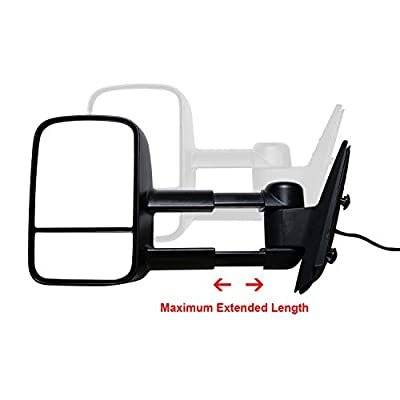 AERDM New Pair Towing Mirrors Power Operated Heated Textured Black Telescoping Trailer Side Mirrors with Arrow Signal Light Side Mirrors Fit for 2007-2013 Chevy/GMC Silverado/Sierra: Automotive