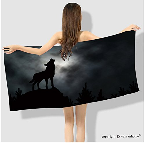 VROSELV Cotton Microfiber Bathroom Bath Towel-editable vector silhouette of a howling wolf with moonlit clouds background made using a gradient Cus Custom pattern of household - Delta Gradient