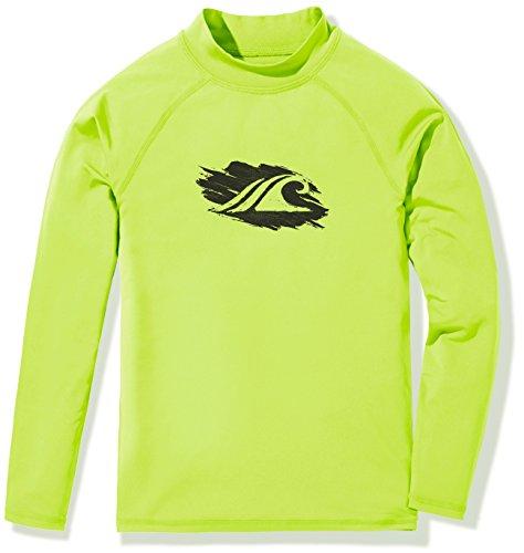 TSLA Girls UPF 50+ Long Sleeve Rashguard Youth Surf Kids Swim top, Girl Long Sleeve(gsr20) - Neon Yellow, Small (10) ()