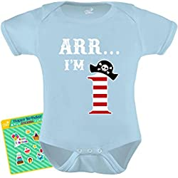 TeeStars - Arr I'm 1 - Pirate Birthday Party Gift for One Year Old Baby Bodysuit 18M Aqua