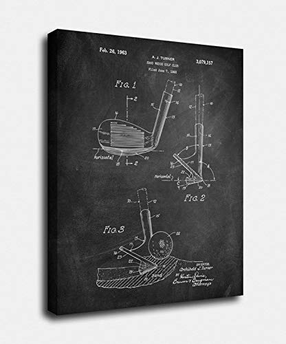 Golf Wall Decor Canvas Art - Print Factory 18x24, Golf Wedge Canvas Print, Golf Wedge Patent, Vintage Art, Blueprint, Poster, PatentPrints, Wall Art, Decor -