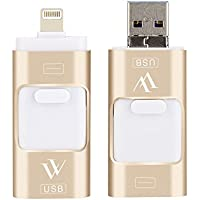 USB Flash Drive for iphone 32 GB USB 3.0 Memory Expansion, 3 in 1 External Pen-Drive Storage Memory Stick for Apple ios Mac Android Windows (Gold)