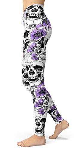 - Women's Sugar Skull Printed Leggings Brushed Buttery Soft Ankle Length Tights (Medium, Light Purple)