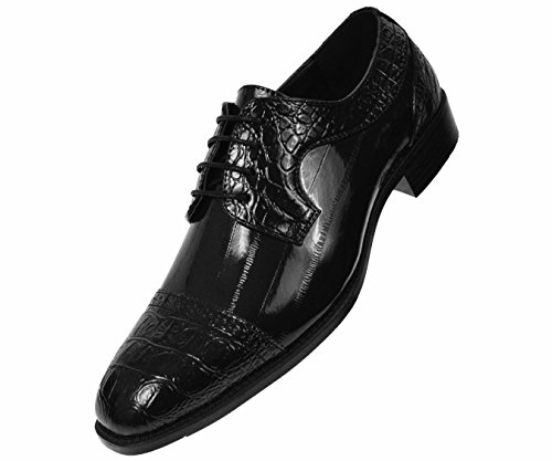 Bolano Mens Exotic Faux EEL Skin Print with Synthetic Croco Cap Toe Oxford Dress Shoe Style Dallas