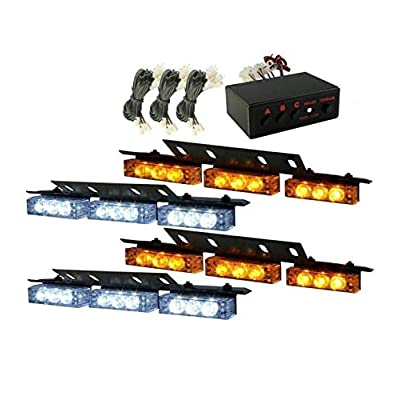 36x LED 3 Flashing Modes Vehicle Windshield Dash Deck Grille Strobe Flash Emergency Warning Strobe Light Bar For Truck, Law Enforcement, Police, Firefighter, EMS, Ambulance -1 pack (Yellow & white): Automotive