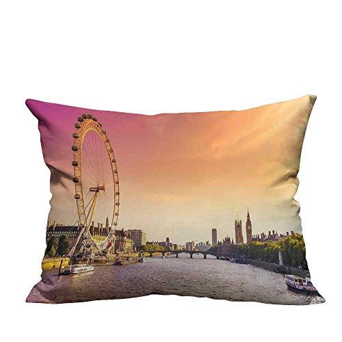 warmfamily Customized Pillowcase Sunset View Bridge on Thames River Ferris Wheel London Eye Big Ben Westminster with Hidden zipperW23 x L23 ()