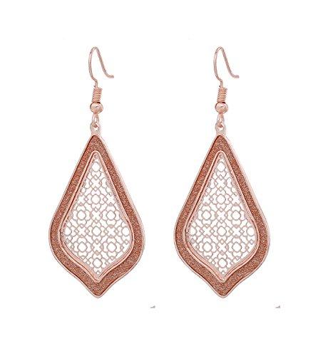 Filigree Dangle Earrings Women's Metallic Teardrop Glitter Filigree Drop Earrings (Rose Gold)