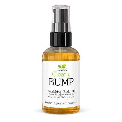 Isabella's Clearly BUMP, Natural Organic Elasticity Oil to Prevent, Fade, Minimize Stretch Marks and Scars. Pregnancy Belly Moisturizer with Rosehip, Vitamin E, Jojoba, Neroli, Lemon (4 Oz)