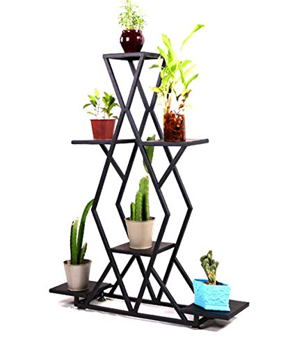 Giow Outdoor Herb Flower Plant Stands American Iron Flower Pot Shelf 6-Tier Floor Plant Stand Living Room Interior House Office Flower Rack Indoor and Outdoor Use Vintage Style