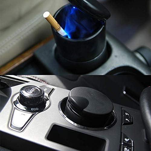車無煙灰皿、蓋と車トラックオフィスホームのためのブルーLEDライトインジケータ付きホルダーカップトラベル自動タバコの臭い煙リムーバー