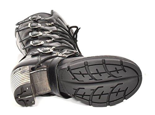 New Rock Damen Schnürsenkel Gothic Stiefel Schwarz Leder Runder Zeh Knielänge Schuhe
