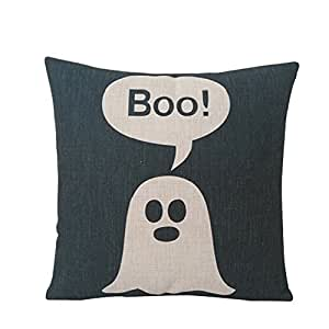 wendana Linen Hallows' Eve Gift Present Switch Halloween Pillow Covers Zip Decorative 18 x 18 inches for Halloween Decorations
