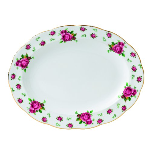 Royal Albert New Country Roses Formal Vintage Oval Platter, 13-Inch, White (Bone China Royal Doulton Platter)