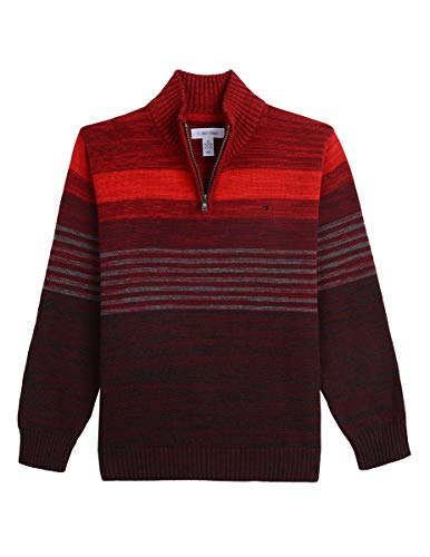 Calvin Klein Big Boys' Half Zip Sweater, Roasted Rouge, S8 (Calvin Klein Print Pullover)