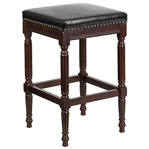 High Backless Cappuccino Wood Barstool with Black Leather Seat ()